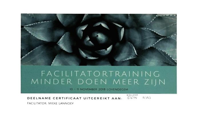 Certificaat Facilitatortraining